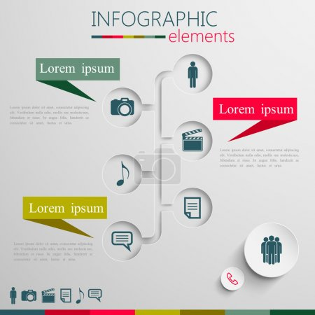 """Illustration pour Ensemble vectoriel d """"éléments d'infographie abstraits en papier 3D pour impression ou conception web - image libre de droit"""