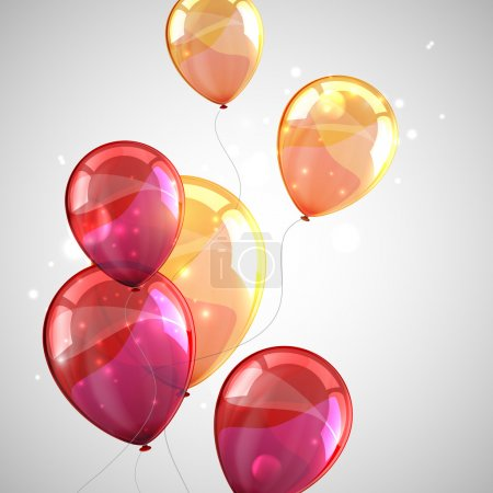 Holiday background with multicolored balloons and sparkles