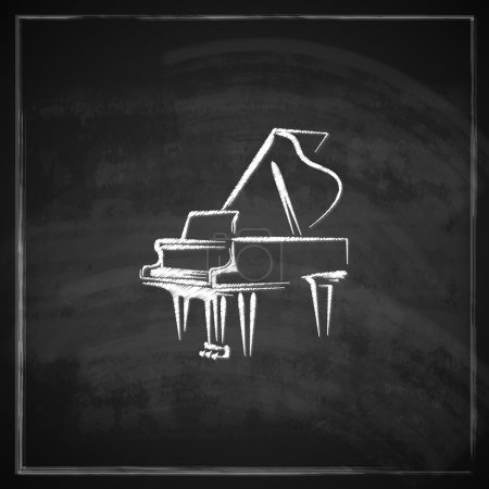 Illustration for Vintage illustration with the grand piano on blackboard background. - Royalty Free Image