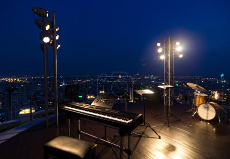 Music Band Instruments on top view of cityscape, bangkok, thaila