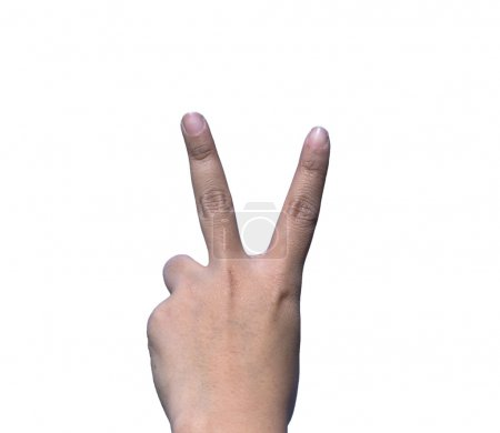 Photo for Hands forming V character for love on white background, isolate - Royalty Free Image