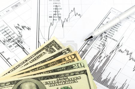 Stock graph report with pen and usd money for business