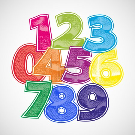 Numbers scratched vector font.
