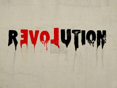 Revolution abstract text with love