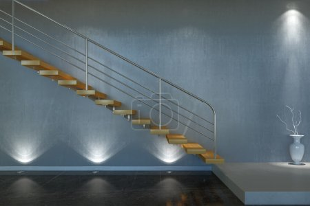 Photo for 3d interior scene stair from wood and metal - Royalty Free Image