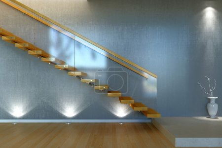 Modern stair from wood and glass