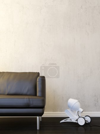 Interior scene in modern style with sofa and lamp...