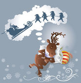 Sweet reindeer is sleeping and dreaming what reindeer is going by sleight A team of Santa Clauses is dragging the sleight Vector illustration is saved in EPS 10 All objects are editable