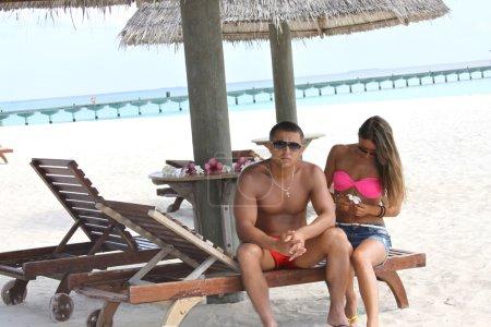 Romantic honeymooners in Maldives