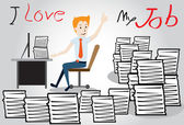 Happy businessman worker with heap of paperwork Cartoon character illustration