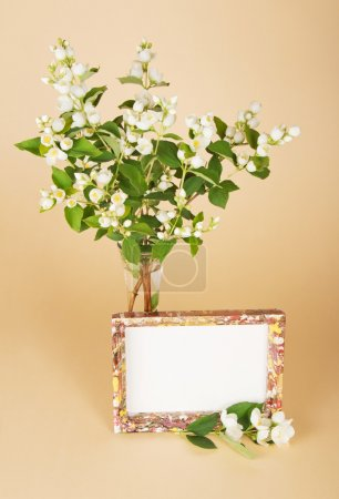 Charming bouquet of a jasmine and motley frame