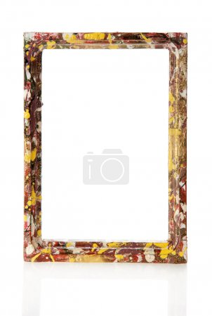 Colorful wooden frame for pictures or the photos, isolated on white