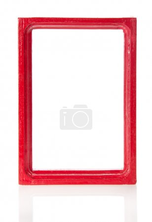 Red wooden frame for pictures or the photos, isolated on white