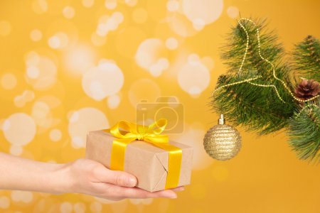 Branch of Christmas fir-tree with ornament and gift in hand