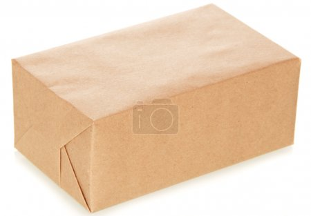 The craft paper package isolated on white