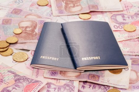 Passports with warious ukrainian money