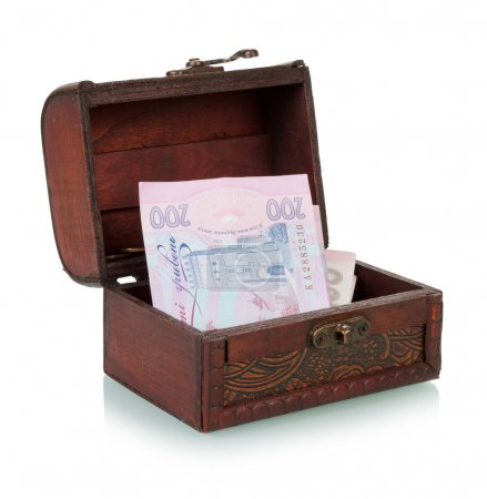 Treasure Chest With Ukrainian Banknotes On White B...