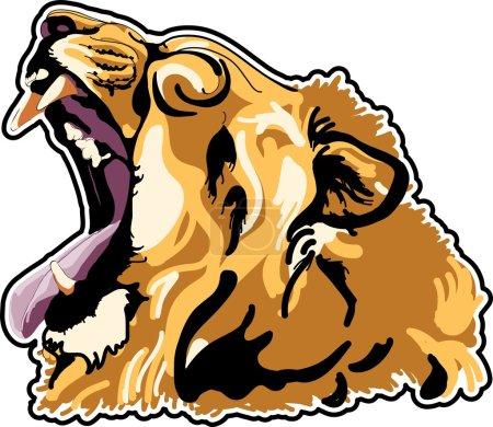 Illustration pour Tête de lion en interprétation des couleurs - image libre de droit