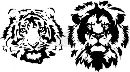 Illustration for Lion and tiger head in black interpretation - Royalty Free Image