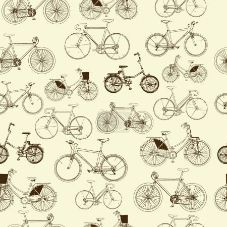 Illustration for Bicycles, seamless pattern - Royalty Free Image
