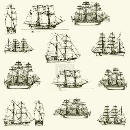 Vector background with old ships