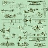 Retro zökkenőmentes régi repülőgépek minta
