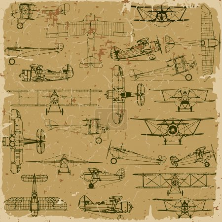 Retro seamless vintage airplanes pattern old paper.