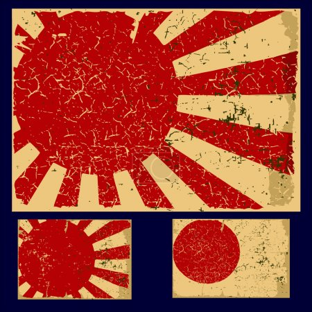 Japan grunge flag, retro series.