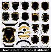 Heraldic shields and ribbons