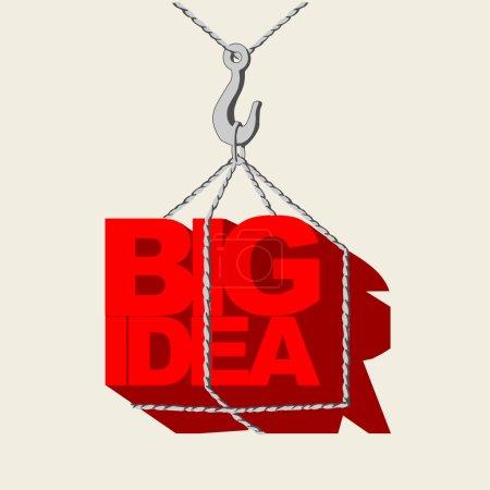 concepto idea grande rojo, etiqueta colgada en el gancho de la grúa
