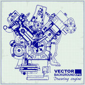 Drawing old engine on graph paper