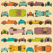 Colorful seamless pattern vintage sports cars