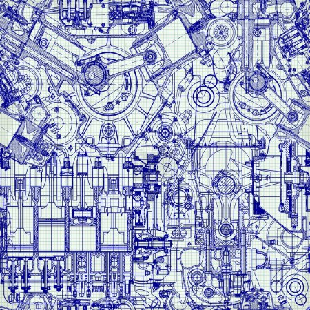 Illustration for Seamless background. Drawing old engine on graph paper. - Royalty Free Image