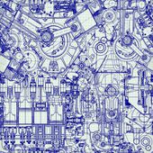 Seamless background Drawing old engine on graph paper