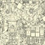 Drawing engine seamless pattern, background. Seaml...