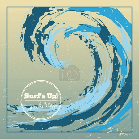Illustration pour Modèle de conception surf rugueux vague de l'océan tombant grande goutte - image libre de droit