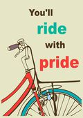 Retro poster template card with a bicycle and the inscription