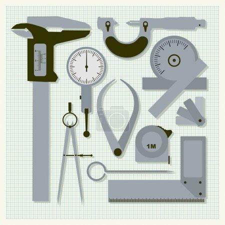 Measuring instruments on graph paper,  conceptual vector set