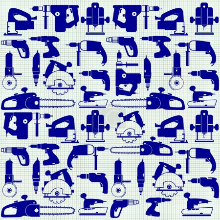 Illustration for Power tools on graph paper, seamless pattern - Royalty Free Image