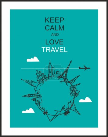 "Illustration for Travel and tourism background . Drawn hands world attractions and slogan ""Keep calm and love travel"" - Royalty Free Image"