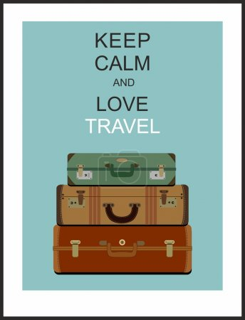 "Illustration for Vintage travel luggage background and slogan ""Keep calm and love travel"" - Royalty Free Image"