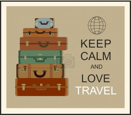 """Illustration for Vintage travel luggage background and slogan """"Keep calm and love travel"""" - Royalty Free Image"""