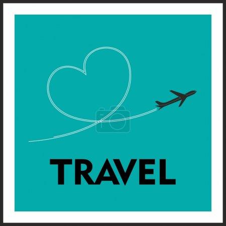 Photo pour Love Travel Concept. Un avion volant laissant derrière lui une piste en forme d'amour - image libre de droit