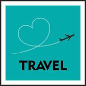 Love Travel Concept A Airplane flying leaving behind a love shaped trail