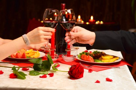 Photo for Toast at a romantic dinner - Royalty Free Image