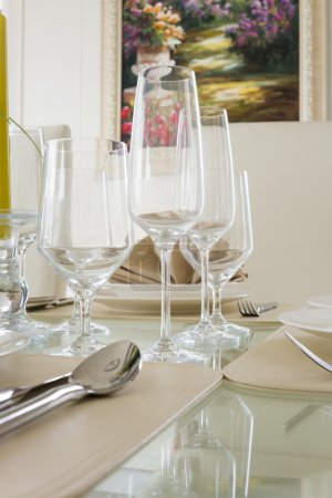 Clear white decoration table for meal