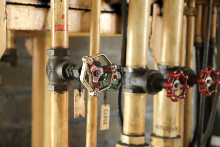 pipes and faucet valves of oil system