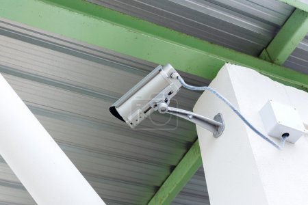 security camera cctv under roof in factory
