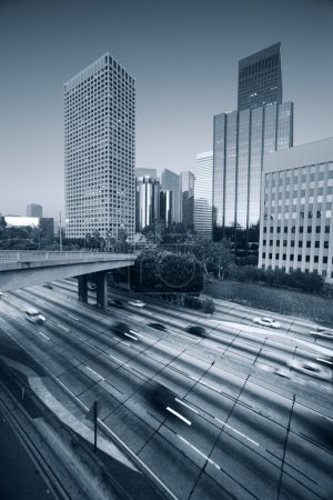 Photo for Freeway traffic in downtown Los Angeles - Royalty Free Image