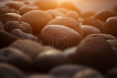 Photo pour Pierres de galets zen dans le jardin au coucher du soleil. Gros plan . - image libre de droit